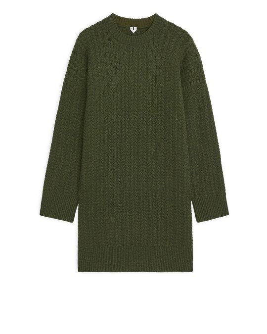 Arket Cable-knit Wool Dress Dark Green
