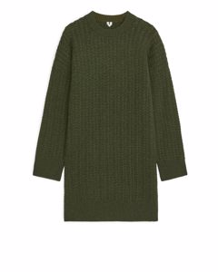 Cable-knit Wool Dress Dark Green