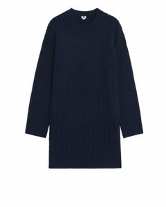 Cable-knit Wool Dress Dark Blue
