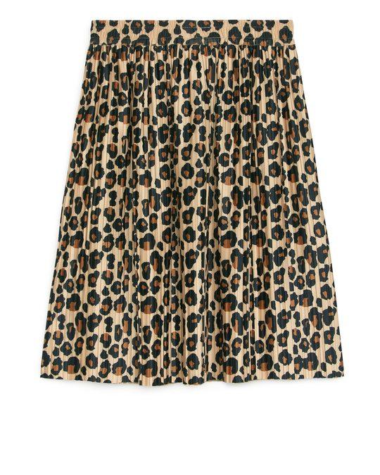 Arket Pleated Skirt Beige/print