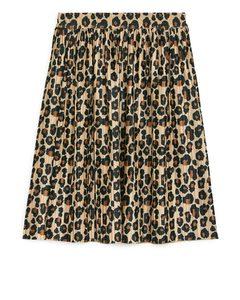 Pleated Skirt Beige/print