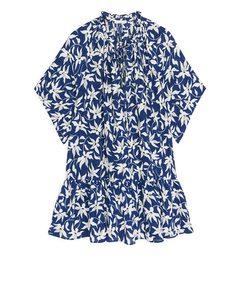 Florale Crêpe-Bluse Blau