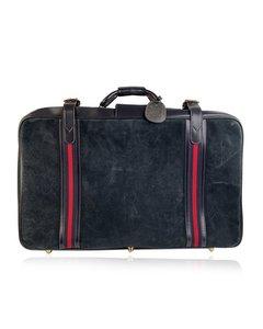 Gucci Vintage Blue Suede Large Suitcase Travel Bag Stripes