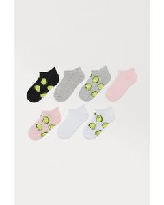 7 Paar Enkelsokken Zwart/avocado's