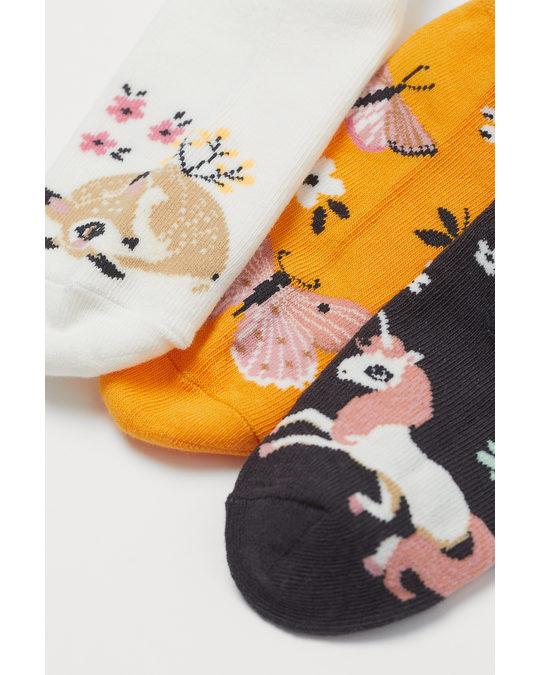 H&M 7-pack Trainer Socks Light Green/forest Animals