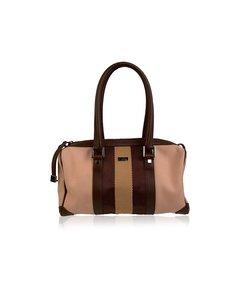 Gucci Beige Canvas Boston Bag Handbag With Striped Detail