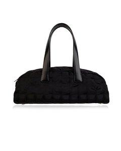 Chanel Black Nylon Travel Line Bassotto Top Handle Bag