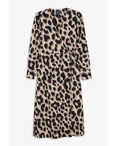 Long Wrap Dress Beige Leopard Print