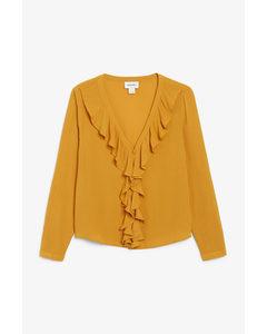 Long-sleeve Ruffle Blouse Beyond Orange