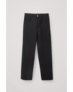 High-waisted Cotton Trousers Black