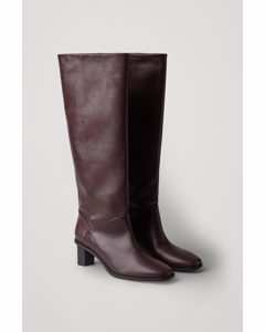 High Leather Boots Burgundy