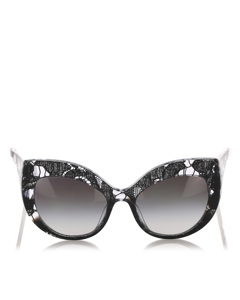 Dolce&gabbana Lace Print Round Tinted Sunglasses Black