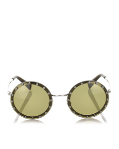 Valentino Crystal Embelished Round Tinted Sunglasses Green