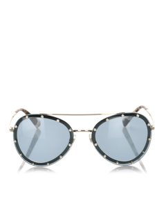 Valentino Crystal Embelished Aviator Sunglasses Green
