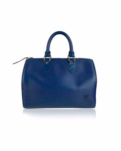 Louis Vuitton Vintage Blue Leather Handbag Mod: Speedy 25