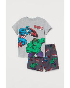 Bedruckter Pyjama Hellgraumeliert/Marvel