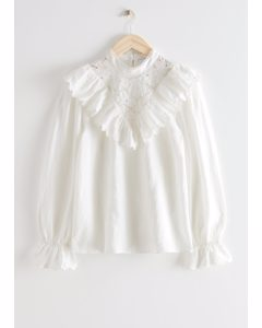 Ruffled Embroidery Overlay Blouse White