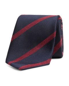 Woven Silk Tie Dark Blue/Red