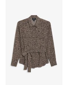 Tie-waist blouse Brown and black bubbles