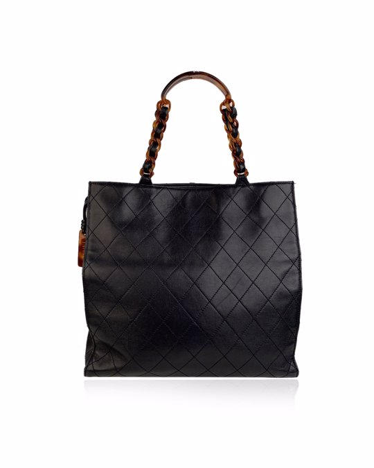 Chanel Chanel Vintage Blue Quilted Leather Tote Bag Shopper Lucite Handles
