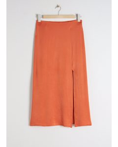 Side Slit Satin Midi Skirt Orange