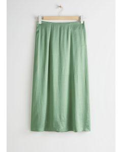 Satin Cupro Midi Skirt Green