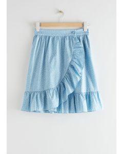 Wrap Mini Skirt Blue Dots