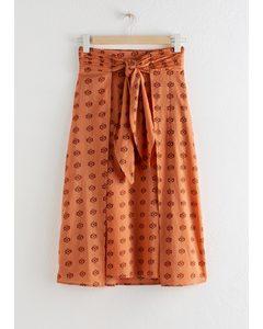 Printed Knot Tie Midi Skirt Orange Floral