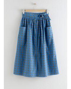 A-line Cotton Midi Skirt Floral