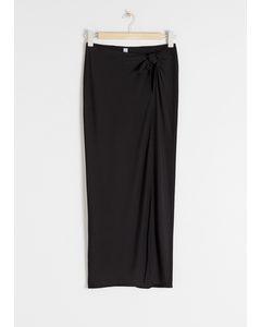 Side Tie Midi Skirt Black