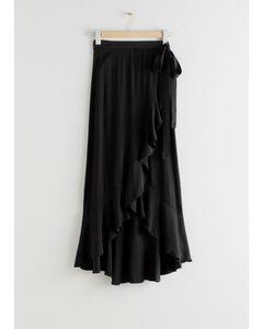 Ruffle Wrap Maxi Skirt Black