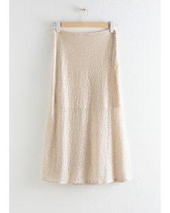 Sequin Embellished Midi Skirt Cream
