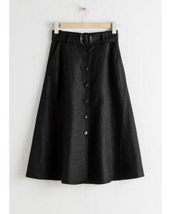 Belted Linen Blend A-line Skirt Black