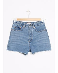 Raw Edge Denim Shorts Blue