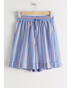 Striped Lyocell Drawstring Shorts