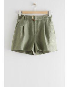 Bundfalten-Shorts aus Leinen mit Gürtel Khaki