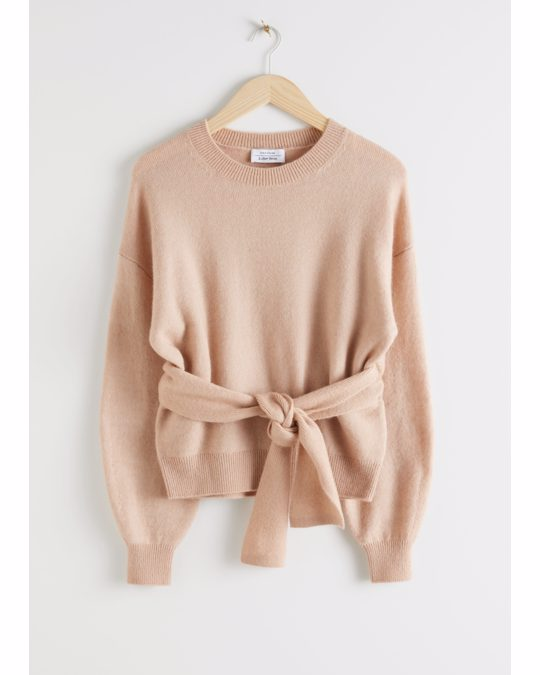 & Other Stories Belted Wool Blend Knit Sweater Beige