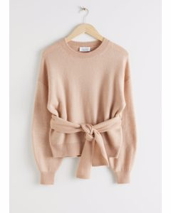 Belted Wool Blend Knit Sweater Beige