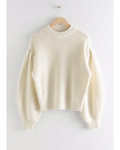 Chunky Ribbed Puff Sleeve Sweater White
