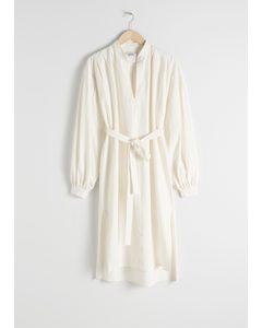 Belted Cotton Linen Midi Dress White