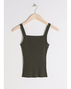 Square Neck Rib Knit Tank Top Khaki