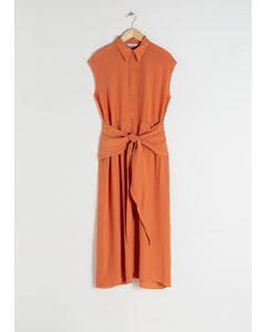Waist Knot Midi Dress Salmon