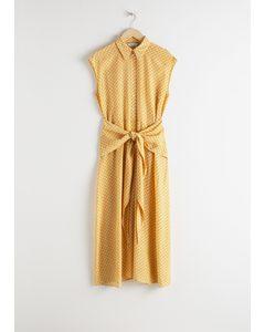 Waist Knot Midi Dress Art Deco Print