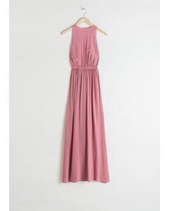 Semi Sheer Maxi Dress Pink