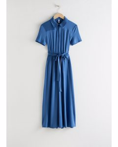 Belted Midi Dress Blue