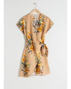 Linen Blend Wrap Mini Dress Tropical