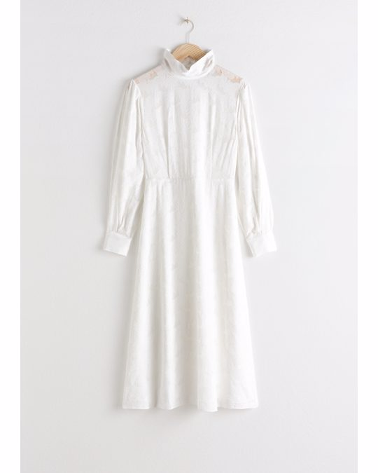 & Other Stories Turtleneck Jacquard Dress White