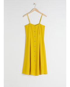 Square Neck Button Up Midi Dress Yellow