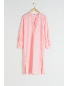 Cotton Kaftan Midi Dress Pink