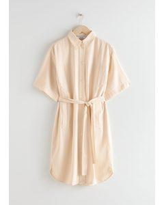 Midi-Hemdkleid in Oversize-Passform Beige